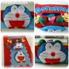 Tissue Cover. Doraemon. Felt. Handmade.