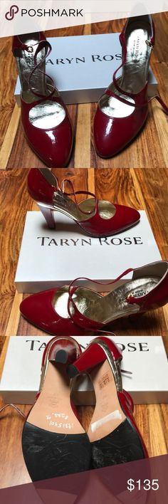 """Taryn Rose red patent 4"""" heels. Size 40 (US 10). Never worn red patent leather with gold accents. All leather sole and rubber grips on the ballot the shoe.  Made in Italy. Taryn Rose Shoes Heels"""