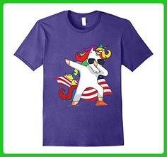 Mens Unicorn Dabbing American Flag Independence T-Shirt Medium Purple - Fantasy sci fi shirts (*Amazon Partner-Link)
