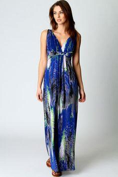 Tiffany V Neck Printed Maxi Dress at boohoo.com