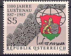 Austria-1987-Lustenau-Anniversary-Heraldry-Coat-of-Arms-Lion-Weaving-Embroidery