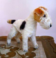 Steiff Wire Hair Fox Terrier Dog Mohair Stuffed Animal