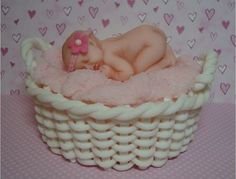 I made this topper for an upcoming baby shower cake & cupcake tower. Love this sleeping baby mold. The fondant wicker basket wasn't as difficult as I thought it would be, but it did take a lot of time. I gave the blanket a soft look by poking it with the Wilton 1M piping tip. I think I need to invest in a better camera, as I just couldn't get a clear, crisp photo that showed the details. Thanks for looking!