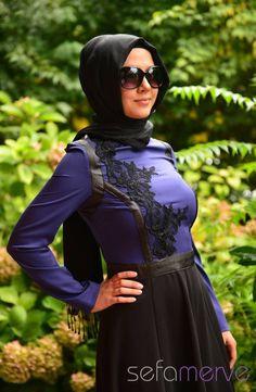 Elbise ZRF Tesettür 5053-03 Mavi
