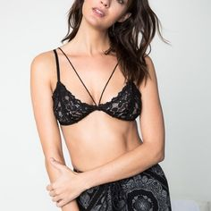 Lace Bralette Lace bralette with back clasps. Available in black, burgundy and emerald. This listing is for the BLACK. Unpadded, unlined. Brand new. NO TRADES. PRICE FIRM. Bare Anthology Intimates & Sleepwear Bras