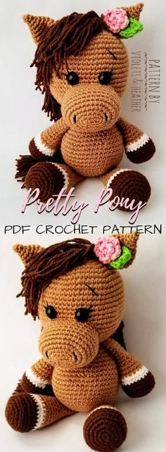 Pretty Pony amigurumi toy horse crochet pattern. Lovely little flower detail in her hair. Sweet little horse doll to crochet for any child. #etsy #ad #VioletsandHeather