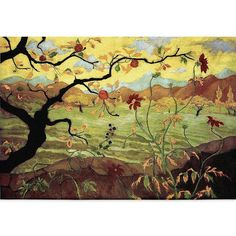 Apple Tree Wall Tapestry 35 in. x 54 in. (Yellow) (Cotton)