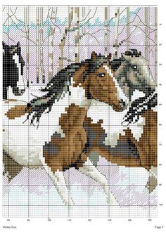 Schema punto croce Cavalli inverno 2