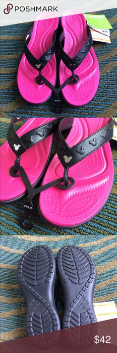 Pink Mickey Crocs NWT Size 10 Authentic Disney Parks Crocs US size 10.  Officially from the Walt Disney World Resort, and official Crocs! Disney Shoes Sandals