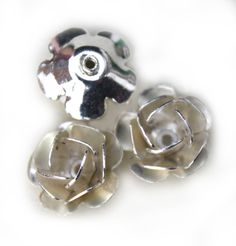 MB164 Silver Rose 11x6mm 6pcs