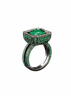 "Solange Azagury-Partridge Cup ring with a central emerald, pavé set emerald ""cup"" body and emerald-set band in blackened white gold"