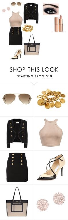 """""""Night out"""" by emma16-scott on Polyvore featuring Ray-Ban, Chanel, Yves Saint Laurent, Balmain, Jimmy Choo, Dorothy Perkins, Swarovski and Charlotte Tilbury"""