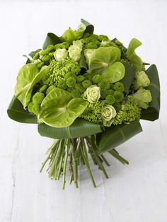 I'd love to use the green anthuriums, though they're pricey. The bent leaves look nice too.