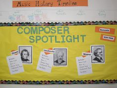 Timeline for music periods and Composer of the Month ideas Preschool Music Lessons, Teaching Music, Education Major, Music Education, Thoughts For Teachers, Music Classroom, Classroom Decor, Music Bulletin Boards, Music Composers