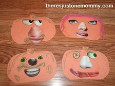 kids' Halloween craft. Funny face pumpkins with cut out facial features