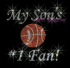 My Sons Number 1 Fan Basketball Mom Iron on Basketball Mom, Basketball Practice, Basketball Necklace, Baseball, Rhinestone Shirts, Rhinestone Transfers, T Shirt Press, Sports Fanatics, Team Mom