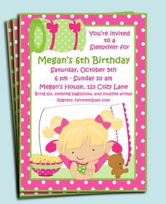 Glamorous Pajama Party Invitation Ideas with Beautiful Little Girl Character and Miraculous Pink Dot Border -
