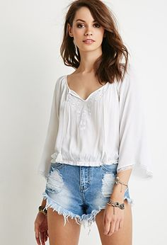 Embroidered Peasant Top | Forever 21 - 2000096051