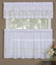Contessa is a wonder valance & tier set. Fabric is faux sateen, unique floral cut out pattern with color matched embroidered accents.  #Complete #Kitchen #Sets