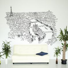 Paris River Seine high quality wall sticker. Paris River Seine is dedicated to the urban world, skyscrapers, parks, trains, roads, and the sheer poetry and beauty of the city.