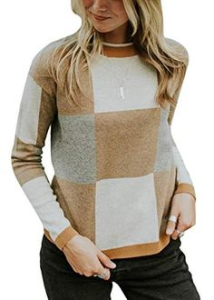 34fceaa724963 Yissang Women s Casual Plaids O Neck Long Sleeves Pullover Knit Sweater Top
