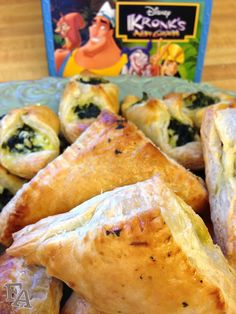 "Fiction-Food Café: Spinach Puffs from ""The Emperor's New Groove"" Disney Inspired Food, Disney Food, Disney Recipes, Disney Themed Food, Disney Desserts, Disney Snacks, Spinach Puff, Emperors New Groove, Dinner And A Movie"