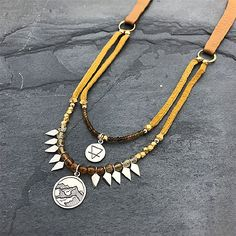 sterling silver charm, earth element charm, leather necklace, mountain range charm, outdoor jewelry, nature jewelry, boho chic jewelry, fringe trend jewelry, garnet jewelry, citrine jewelry, statement necklace