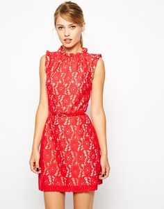 New Arrival Red High Neck Lace Skater Dress with Belt Simple Dresses, Elegant Dresses, High Neck Lace Dress, Beige Outfit, Fashion Corner, Vestidos Vintage, Costume, Dress Me Up, Dress Red