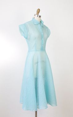 1950's blue sheer organza dress $98 from salvagelife on Etsy