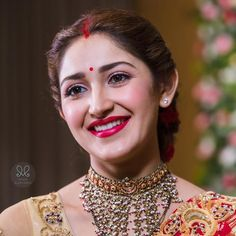 The Fairytale Wedding of Arya and Sayyeshaa! Indian Bridal Outfits, Indian Look, Fashion Designer, Bridal Makeup, Indian Wedding Makeup, Bengali Wedding, Wedding Sarees, Bridal Lehenga, Most Beautiful Indian Actress