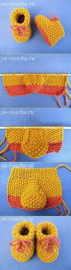 Make Yellow Knit Baby Booties Model at Home – Hülya – Join the world of pin Knitting For Kids, Baby Knitting Patterns, Knitting Designs, Baby Patterns, Knitting Projects, Crochet Projects, Crochet Patterns, Crochet Baby Shoes, Crochet Baby Booties