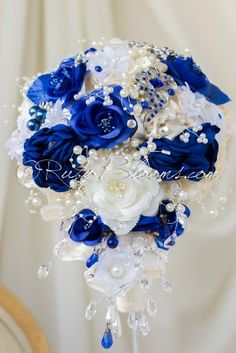 Ruby Blooms is pleased to offer you the Premiere Collection - Cascade Wedding Brooch Bouquet Designed for Ivory and Blue Weddings, Bridal Flowers and Special Events! Bridal Bouquet Blue, Wedding Brooch Bouquets, Bride Bouquets, Bridal Flowers, Boquet, Blue Wedding Centerpieces, Pink Wedding Decorations, Wedding Colors, Sapphire Blue Weddings