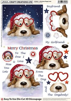 Craft Creations Die Cut Decoupage - Christmas Puppy Love - - A great range of Craft Creations Die Cut Decoupage Christmas Puppy Love from The Mulberry Bush Craft Newbury Berkshire Christmas Templates, Christmas Clipart, Christmas Images, Christmas Printables, Christmas Rock, Christmas Puppy, Christmas Time, Christmas Crafts, 3d Cards