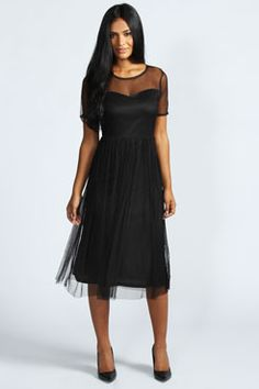 Richa Pretty Mesh Sweetheart Neck Midi Dress.