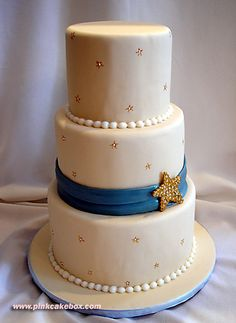 Star Themed Wedding Cake by Pink Cake Box in Denville, NJ.  More photos and videos at http://blog.pinkcakebox.com/brides-local-star-wedding-cake-2007-07-18.htm