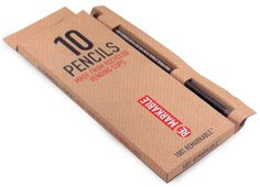 The best part about this package is the Remarkable logo. The letters fit snugly inside of a bright red exclamation point, which reinforces remarkable-ness. The hierarchy feels comfortable. The typeface is modern, and gives pencils a modern feel but the brown paper reminds us of the earthiness and original-ness of a pencil.