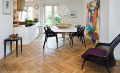 parquet flooring with modern kitchen - Google Search