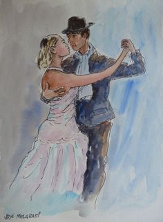The Tango Original Watercolor and Indian Ink Painting signed art #Realism