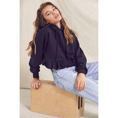 Urban Renewal Recycled Peplum Hoodie Sweatshirt (35.125 CLP) ❤ liked on Polyvore featuring tops, hoodies, cotton hoodies, short sleeve hoodie, vintage hoodies, sweatshirt hoodies and cotton hoodie