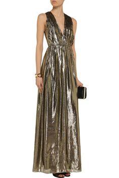 Alice + OliviaIssa metallic silk-blend crepe maxi dressfront