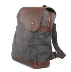 GRay CANVAS bag BACKPACK Superior Genuine Cow Leather Briefcase / Messenger bag / Laptop bag / Men's leather Bag(m832-2) · sean vintage handmade bags · Online Store Powered by Storenvy