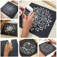 Chalk and glue mandalas middle school art projects, middle school crafts, art club projects Mandalas Painting, Mandalas Drawing, Mandala Art, Art Education Lessons, Art Lessons Elementary, Middle School Art Projects, Art School, Middle School Crafts, Art Club Projects