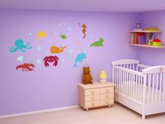 Sea Animals Kids / Nursery Bedroom Wall Decal by WallJems on Etsy