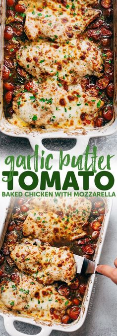 Lower Excess Fat Rooster Recipes That Basically Prime Garlic Butter Tomato Baked Chicken - An Easy One Dish Recipe That Requires Only A Handful Of Simple Ingredients Easy To Prep And Ready In No Time Mozzarella Chicken, Cooking Recipes, Healthy Recipes, Cooking Fish, Easy Recipes, Baked Tomato Recipes, Dip Recipes, Light Recipes, Healthy Food