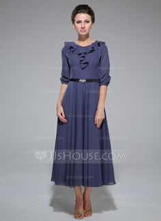 A-Line/Princess Scoop Neck Tea-Length Chiffon Charmeuse Mother of the Bride Dress With Sash Cascading Ruffles (008042829)