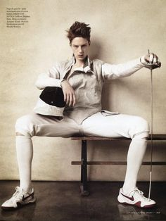 "Race Imboden in ""Mi-Temps"" by Richard Phibbs for Citizen K Homme Sport Spring Summer 2013. Race Imboden is a US Olympic team fencer and competed in the London 2012 Olympics."