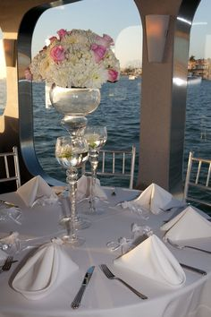 The perfect setting for your wedding guest to dine aboard the gorgeous Eternity yacht - A wedding breakfast on the water in the beautiful Newport Harbor, Orange County. Boat Wedding, Yacht Wedding, Cruise Wedding, Wedding Tags, Fall Wedding, Wedding Ceremony, Wedding Venues, Dream Wedding, Reception