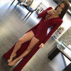 High Slit V-Neck Bodycon Jumpsuit Women Dress | Daisy Dress for Less | Women's Dresses & Accessories