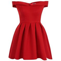 **Chi Chi London Petite Red Bardot Mini Dress ($110) ❤ liked on Polyvore featuring dresses, petite, red, short red dress, petite dresses, red day dress, red dress and short dresses