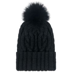 Eugenia Kim - Andrea fox pom beanie ($250) ❤ liked on Polyvore featuring accessories and hats
